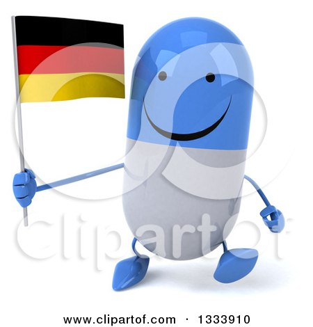 Clipart of a 3d Happy Blue and White Pill Character Walking and Holding a German Flag - Royalty Free Illustration by Julos