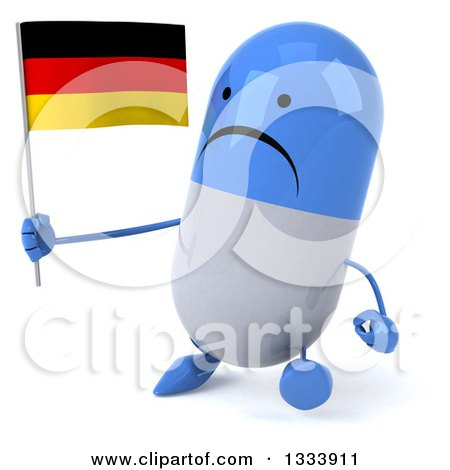Clipart of a 3d Unhappy Blue and White Pill Character Walking Slightly to the Left and Holding a German Flag - Royalty Free Illustration by Julos