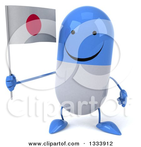 Clipart of a 3d Happy Blue and White Pill Character Holding a Japanese Flag - Royalty Free Illustration by Julos