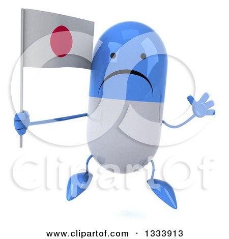 Clipart of a 3d Unhappy Blue and White Pill Character Jumping and Holding a Japanese Flag - Royalty Free Illustration by Julos