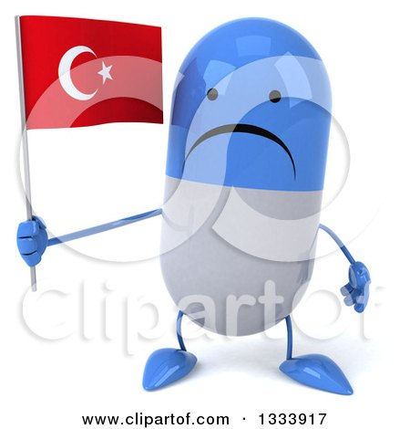 Clipart of a 3d Unhappy Blue and White Pill Character Holding a Turkish Flag - Royalty Free Illustration by Julos