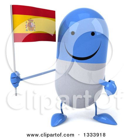 Clipart of a 3d Happy Blue and White Pill Character Holding and Pointing to a Spanish Flag - Royalty Free Illustration by Julos
