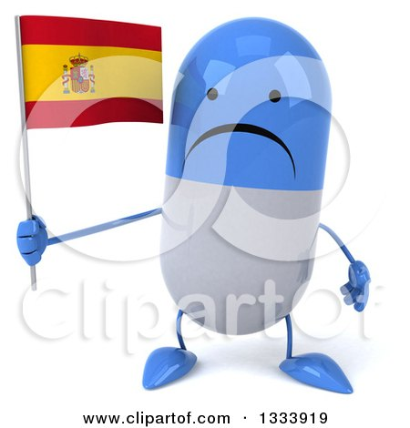 Clipart of a 3d Unhappy Blue and White Pill Character Holding a Spanish Flag - Royalty Free Illustration by Julos