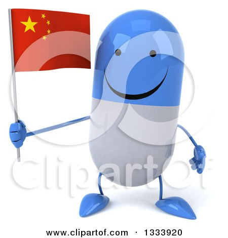 Clipart of a 3d Happy Blue and White Pill Character Holding a Chinese Flag - Royalty Free Illustration by Julos