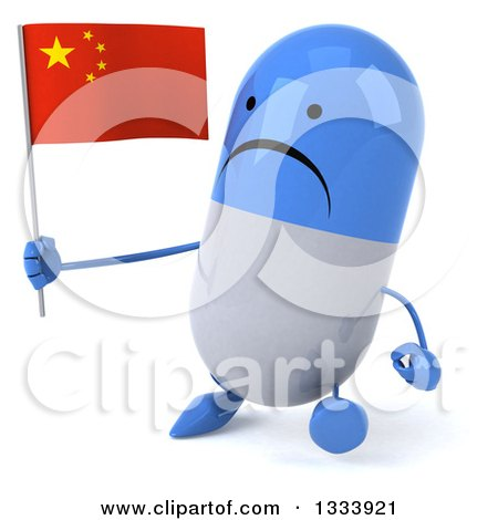 Clipart of a 3d Unhappy Blue and White Pill Character Walking Slightly to the Left and Holding a Chinese Flag - Royalty Free Illustration by Julos