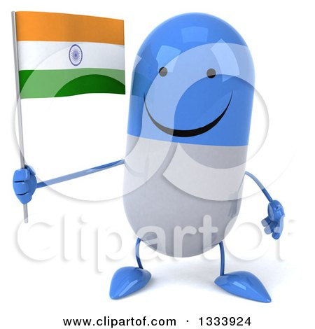 Clipart of a 3d Happy Blue and White Pill Character Holding an Indian Flag - Royalty Free Illustration by Julos