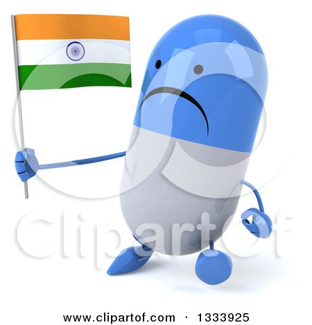 Clipart of a 3d Unhappy Blue and White Pill Character Walking Slightly Left and Holding an Indian Flag - Royalty Free Illustration by Julos