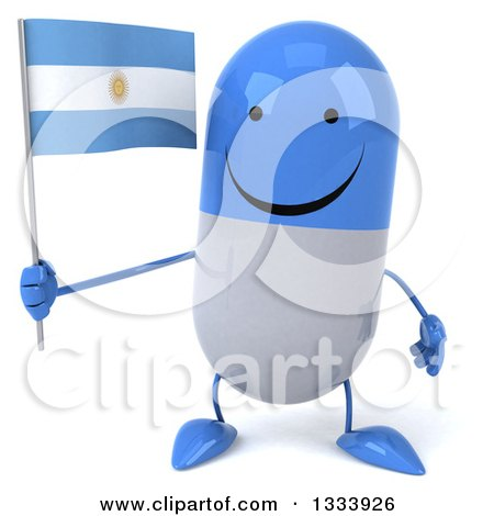 Clipart of a 3d Happy Blue and White Pill Character Holding an Argentine Flag - Royalty Free Illustration by Julos