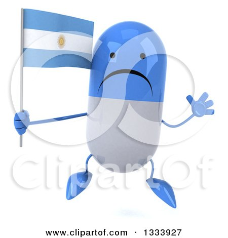 Clipart of a 3d Unhappy Blue and White Pill Character Jumping and Holding an Argentine Flag - Royalty Free Illustration by Julos