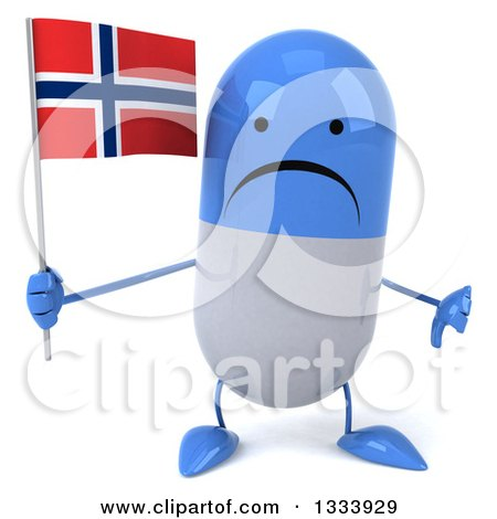 Clipart of a 3d Unhappy Blue and White Pill Character Giving a Thumb down and Holding a Norwegian Flag - Royalty Free Illustration by Julos