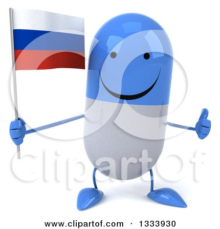 Clipart of a 3d Happy Blue and White Pill Character Giving a Thumb up and Holding a Russian Flag - Royalty Free Illustration by Julos