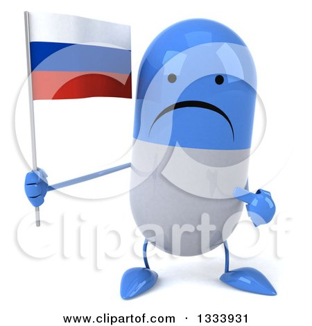 Clipart of a 3d Unhappy Blue and White Pill Character Holding and Pointing to a Russian Flag - Royalty Free Illustration by Julos