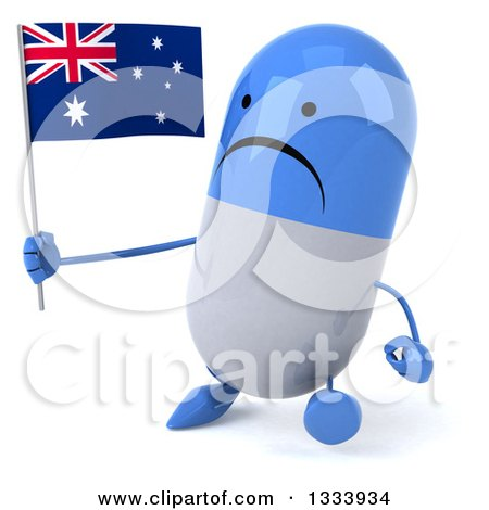 Clipart of a 3d Unhappy Blue and White Pill Character Walking Slightly Left and Holding an Australian Flag - Royalty Free Illustration by Julos