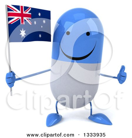 Clipart of a 3d Happy Blue and White Pill Character Giving a Thumb up and Holding an Australian Flag - Royalty Free Illustration by Julos