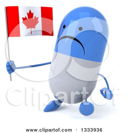 Clipart of a 3d Unhappy Blue and White Pill Character Walking Slightly to the Left and Holding a Canadian Flag - Royalty Free Illustration by Julos