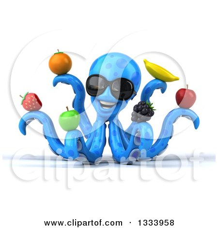 Clipart of a 3d Happy Blue Octopus Wearing Sunglasses and Holding Fruit - Royalty Free Illustration by Julos