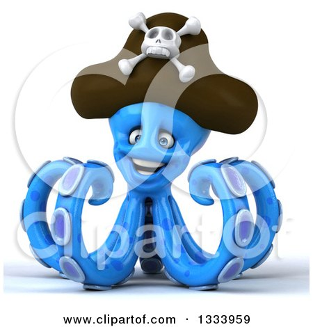 Clipart of a 3d Happy Blue Pirate Octopus - Royalty Free Illustration by Julos