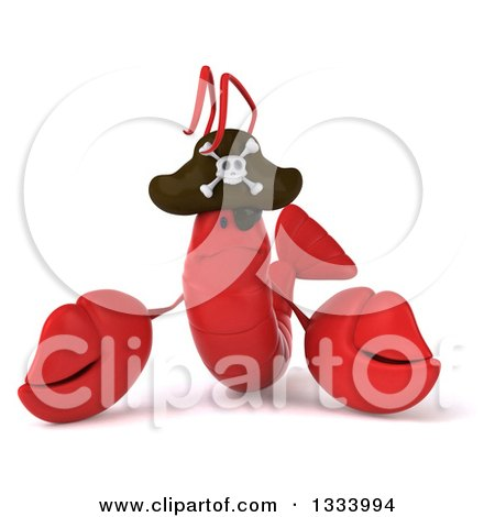 Clipart of a 3d Sad Pirate Lobster - Royalty Free Illustration by Julos