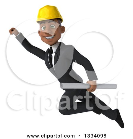 Clipart of a 3d Young Black Male Architect Flying and Holding Plans - Royalty Free Illustration by Julos