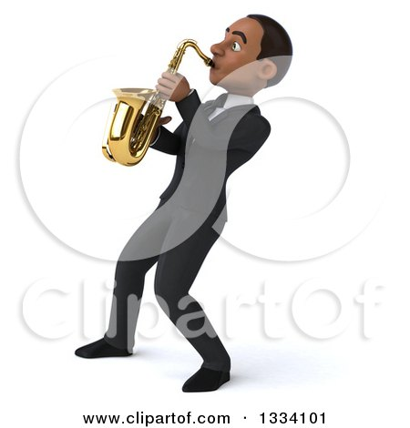 Clipart of a 3d Happy Young Black Businessman Leaning Back and Playing a Saxophone 3 - Royalty Free Illustration by Julos