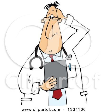 Clipart of a Cartoon Stumped Chubby White Male Veterinarian or Doctor Holding a Clipboard - Royalty Free Vector Illustration by djart