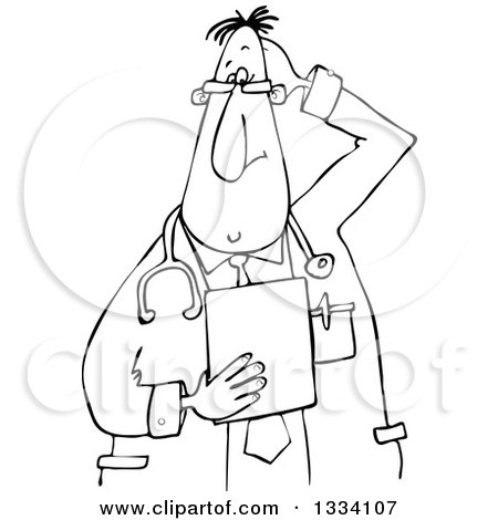 Lineart Clipart of a Cartoon Black and White Stumped Chubby Male Veterinarian or Doctor Holding a Clipboard - Royalty Free Outline Vector Illustration by djart