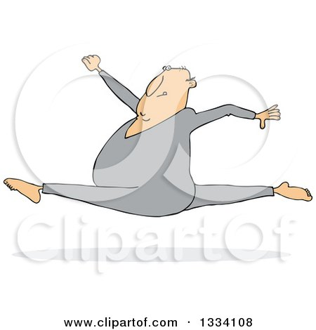 Clipart of a Cartoon Chubby White Man Leaping and Doing the Splits - Royalty Free Vector Illustration by djart