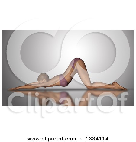 Clipart of a 3d Fit Caucasian Woman Stretching in a Yoga Pose, on Gray - Royalty Free Illustration by KJ Pargeter