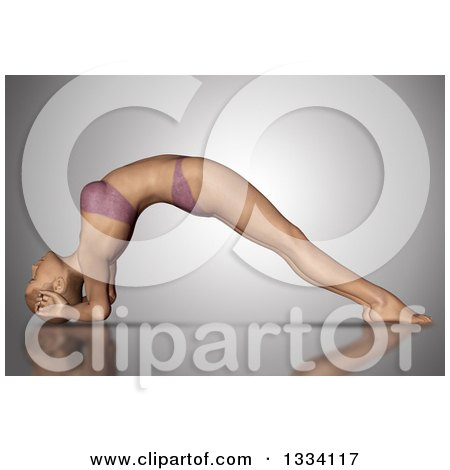 Clipart of a 3d Fit Caucasian Woman Stretching in a Yoga Pose, Arched with Her Head on the Floor, on Gray - Royalty Free Illustration by KJ Pargeter