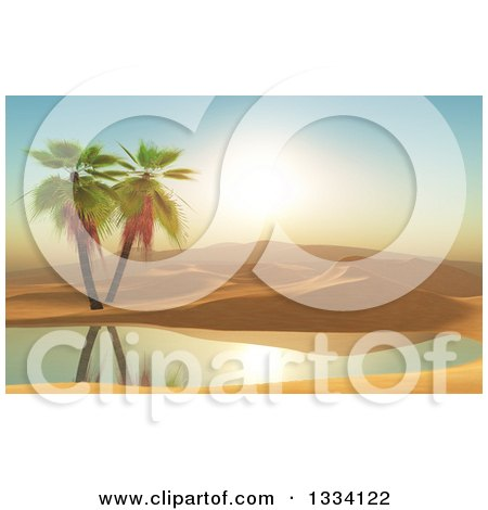 Clipart of a 3d Desert with Dunes, Palm Trees and an Oasis at Sunset - Royalty Free Illustration by KJ Pargeter
