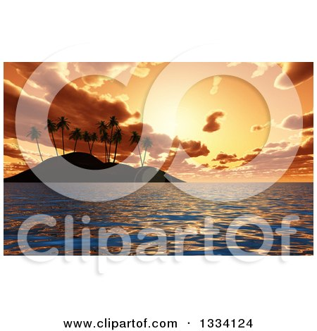 Clipart of a 3d Tropical Island with Palm Trees Silhoueted Against an Orange Ocean Sunset - Royalty Free Illustration by KJ Pargeter