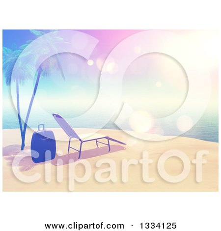 Clipart of a 3d Vintage Style Tropical Island Beach with White Sand, a Sun Lounger Chair, Luggage, Palm Trees and Sky Flares - Royalty Free Illustration by KJ Pargeter
