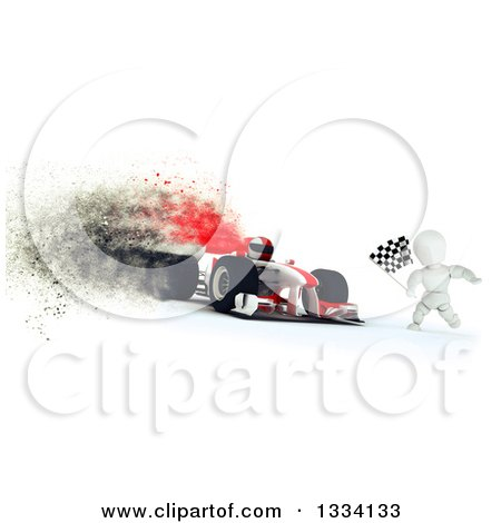 Clipart of a 3d Race Car Driver and White Character with a Checkered Flag at the Finish Line, with Special Effects - Royalty Free Illustration by KJ Pargeter