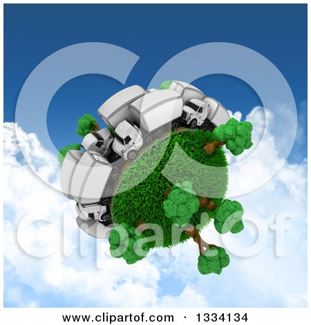 Clipart of a 3d Roadway with Big Rig Trucks in Traffic Around a Grassy Planet with Trees, over Sky with Clouds - Royalty Free Illustration by KJ Pargeter
