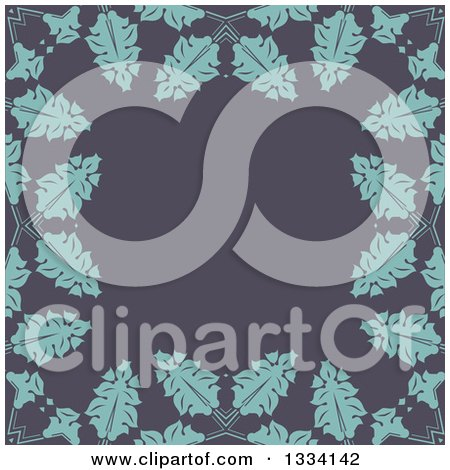 Clipart of a Retro Background of Blue Leaves over Gray - Royalty Free Vector Illustration by KJ Pargeter
