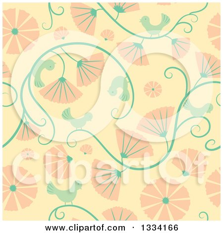 Clipart of a Seamless Background Pattern of Retro Birds, Vines and Pink Flowers - Royalty Free Vector Illustration by Cherie Reve