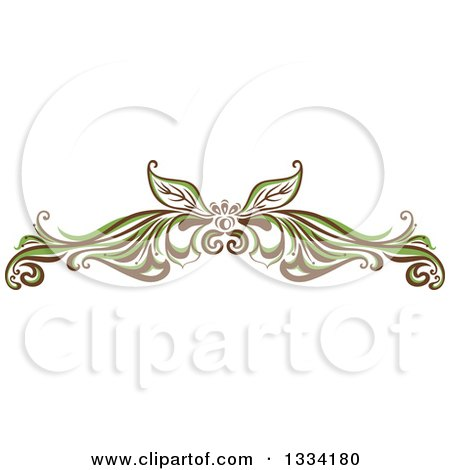 Clipart of a Green and Brown Floral Design Element Flourish - Royalty Free Vector Illustration by Cherie Reve