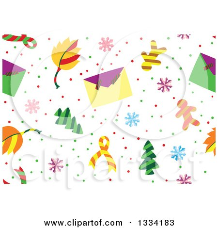 Clipart of a Seamless Background Pattern of Christmas Trees, Envelopes, Snowflakes and Gingerbread Men - Royalty Free Vector Illustration by Cherie Reve