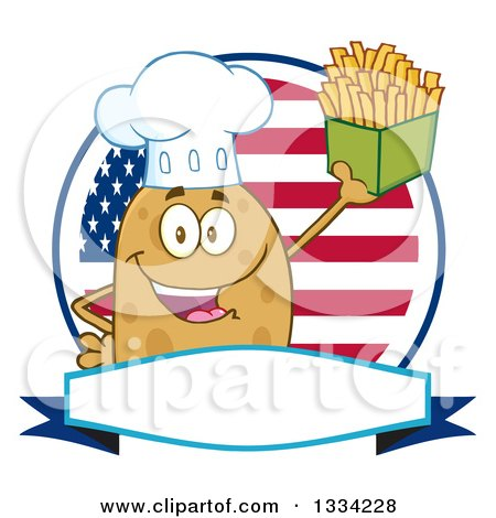 Clipart of a Cartoon Chef Russet Potato Character Holding up French Fries over an American Flag Logo - Royalty Free Vector Illustration by Hit Toon