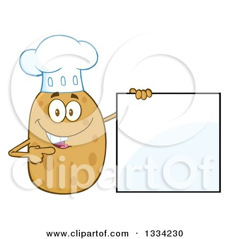 Clipart of a Cartoon Chef Russet Potato Character Holding and Pointing to a Blank Sign - Royalty Free Vector Illustration by Hit Toon