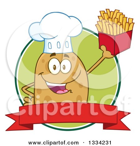 Clipart of a Cartoon Chef Russet Potato Character Holding up French Fries over a Green Circle Logo and Blank Red Banner - Royalty Free Vector Illustration by Hit Toon