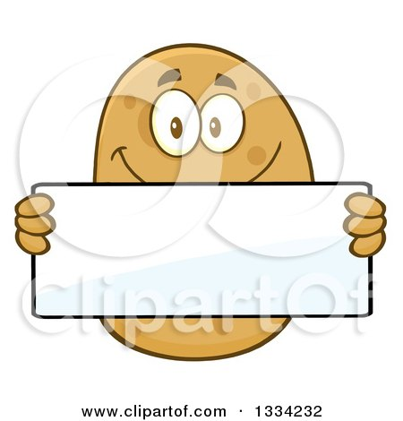 Clipart of a Cartoon Russet Potato Character Holding a Blank Sign - Royalty Free Vector Illustration by Hit Toon