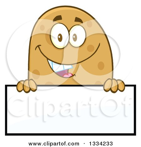 Clipart of a Cartoon Russet Potato Character over a Blank Sign - Royalty Free Vector Illustration by Hit Toon