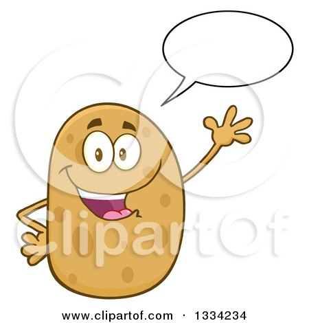 Clipart of a Cartoon Russet Potato Character Talking and Waving - Royalty Free Vector Illustration by Hit Toon