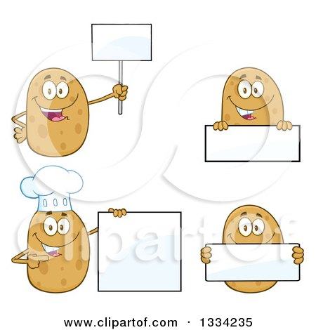 Clipart of Cartoon Russet Potato Characters Holding Blank Signs - Royalty Free Vector Illustration by Hit Toon