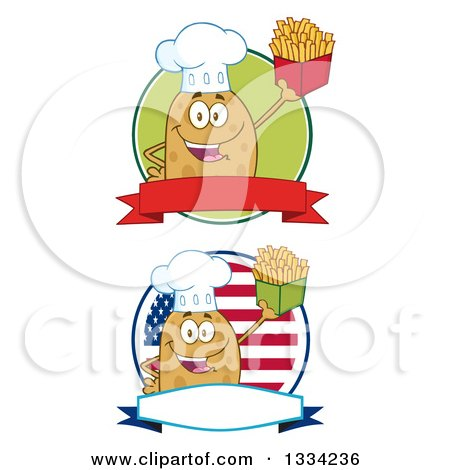 Clipart of Cartoon Chef Russet Potato Characters Holding French Fries on Logos - Royalty Free Vector Illustration by Hit Toon