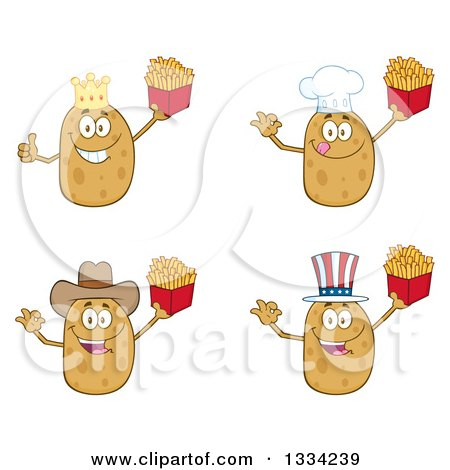 Clipart of Cartoon King, Chef, Cowboy and American Russet Potato Characters Holding French Fries - Royalty Free Vector Illustration by Hit Toon