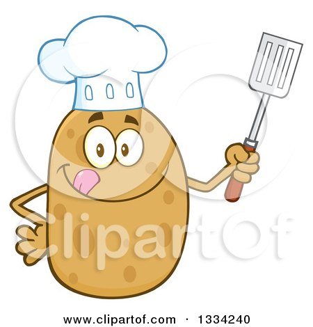 Clipart of a Cartoon Chef Russet Potato Character Licking His Lips and Holding a Spatula - Royalty Free Vector Illustration by Hit Toon
