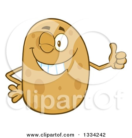 Clipart of a Cartoon Russet Potato Character Winking and Giving a Thumb up - Royalty Free Vector Illustration by Hit Toon