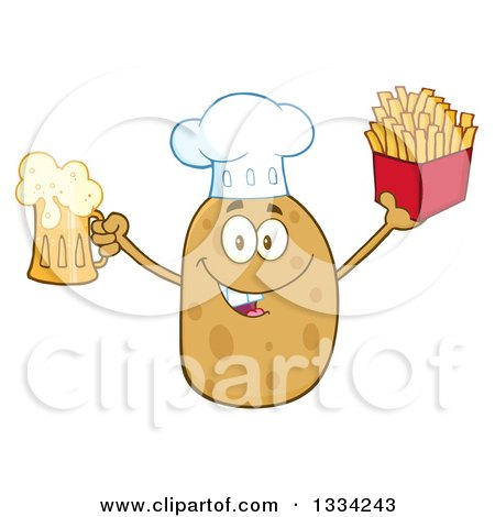 Clipart of a Cartoon Chef Russet Potato Character Holding up a Beer and French Fries - Royalty Free Vector Illustration by Hit Toon